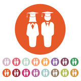 The student boy and girl icon. School, academy, college, education symbol. Flat Royalty Free Stock Photos