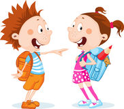 Student boy and girl with school bag - vector Stock Photo