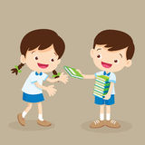 Student boy give a book to friend. Cute student boy give a book to friend Royalty Free Stock Images