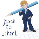 Student boy with great pencil Royalty Free Stock Images