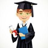 Student boy holding a diploma and schoolbook Royalty Free Stock Photo