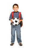 Student: Boy Holding Soccer Ball Stock Image