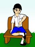 Student Boy på a-stoltecknad film vektor illustrationer