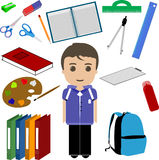 Student Boy and School Utensils Royalty Free Stock Images