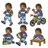 Student boy set in various poses and activities royalty free illustration