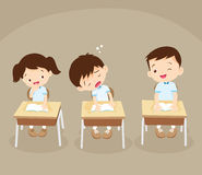 Student boy sleeping in classroom Royalty Free Stock Images