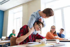 Student boy suffering of classmate mockery Stock Images