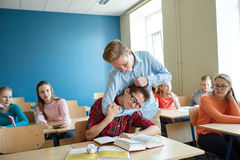 Student boy suffering of classmate mockery Stock Photography