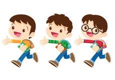 Student boy walking character stock illustration