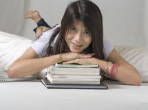 Student with braces on her teeth studying Royalty Free Stock Photos