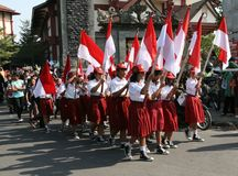 Student bring indonesian flags Royalty Free Stock Image