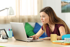Student browsing content in a laptop in her room. Single student browsing content on line in a laptop sitting in a desk in her bedroom in a house interior Royalty Free Stock Photos