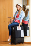 Student with buggage ready to leave Royalty Free Stock Photos