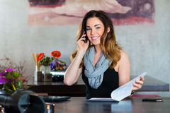Student or businesswoman working in cafe Royalty Free Stock Image