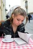 The student in cafe street in old city Stock Photo