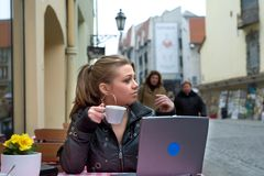 The student in cafe street in old city Stock Photos