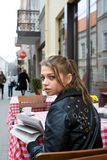 The student in cafe street in old city Royalty Free Stock Images