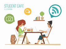 Student in a cafe Royalty Free Stock Photos