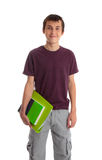 Student carrying books. Smiling male teen student carrying books and ring folder Stock Images