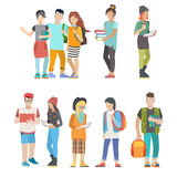 Student casual urban young people couple college flat vector. Student casual urban young people couple flat web infographic concept vector icon set. Group Royalty Free Stock Photo