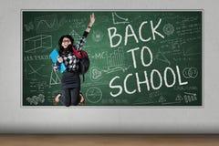 Student celebrate back to school Stock Image