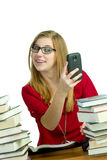 Student on cellphone Royalty Free Stock Image