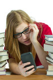 Student on cellphone Stock Images