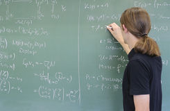 Student, chalkboard Royalty Free Stock Images