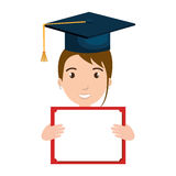 Student character with hat graduation and diploma Royalty Free Stock Photography