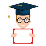 Student character with hat graduation and diploma Royalty Free Stock Images
