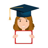 Student character with hat graduation and diploma Stock Photography