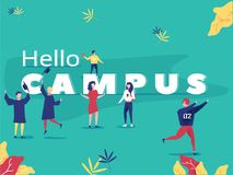Student characters showing various activities on campus life. Park background poster concept illustration Royalty Free Stock Photos