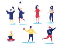 Student characters showing various activities isolated on white background. Vector modern flat design. Royalty Free Stock Image