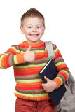 Student child with books saying Ok Stock Images