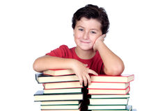 Student child with many books Royalty Free Stock Photos