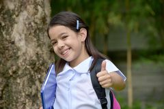 Student Child With Thumbs Up Wearing Uniform With Books