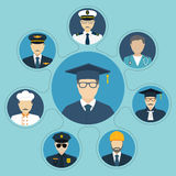 Student with a choice of professions. Career choice options. Set of people occupations icons, flat design style. Vector illustration. Education and career Royalty Free Stock Images