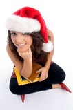 Student with christmas hat Royalty Free Stock Image
