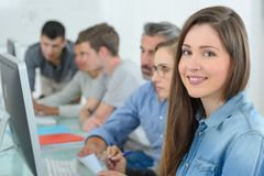 Student with the class royalty free stock image