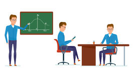 Student in class answers near blackboard, workplace, getting with materials. Royalty Free Stock Image