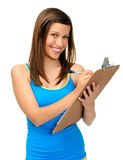 Student with clipboard Royalty Free Stock Images
