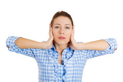 Student closing ears, hear no evil concept Royalty Free Stock Photography