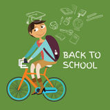 Student college riding bicycle go back to school class icon dream graduation graduate Stock Photography