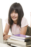 Student with computer and books Royalty Free Stock Image