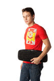 Student with a computer keyboard Stock Image