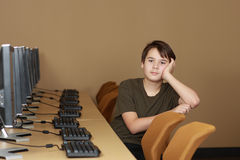 Student in computer lab Royalty Free Stock Images