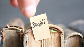 Student concept, tag and books stock video footage