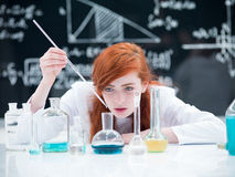 Student conducting a lab experiment Stock Image