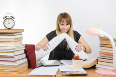 Student with contempt crumples drawing Stock Image