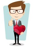 Student in costume gives his beloved heart, vector Stock Photography